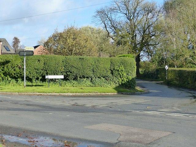 The junction of Bakeacre Lane