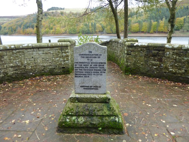 Memorial to a sheepdog alongside Derwent Reservoir