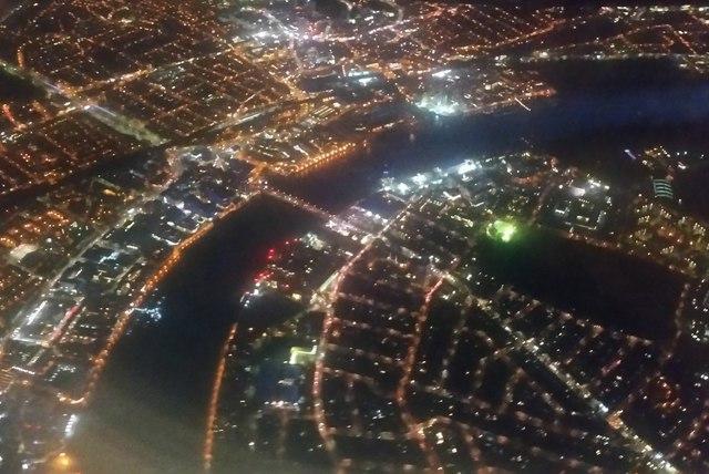 River Thames at Wandsworth Bridge at night, from the air