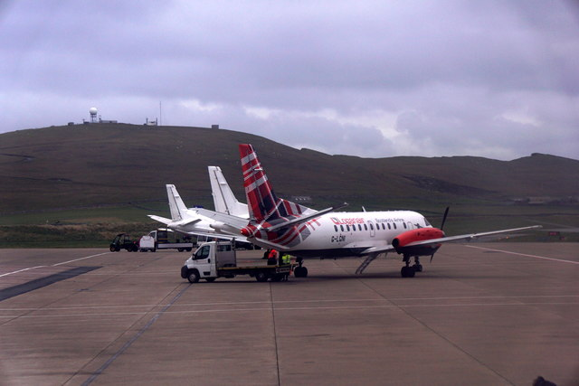 Loganair plane on the apron at Sumburgh Airport