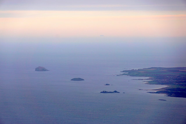 Bass Rock, Craigleith and Fidra from the air