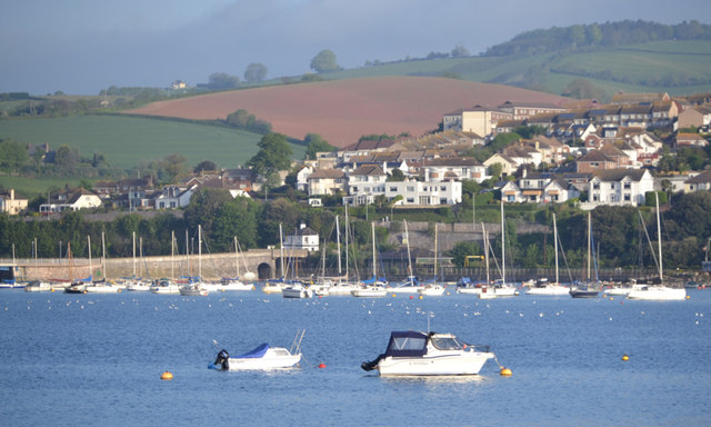 Yachts at their moorings, Teignmouth harbour, high tide