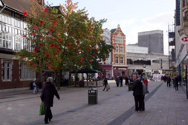Poppy trees on Bromley High Street