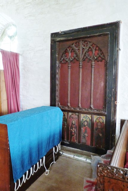 One of a pair of panels salvaged from the dismantled Rood Screen, St. Winwaloe's church