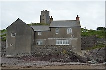 SX5148 : Church seen from beach, Wembury by N Chadwick