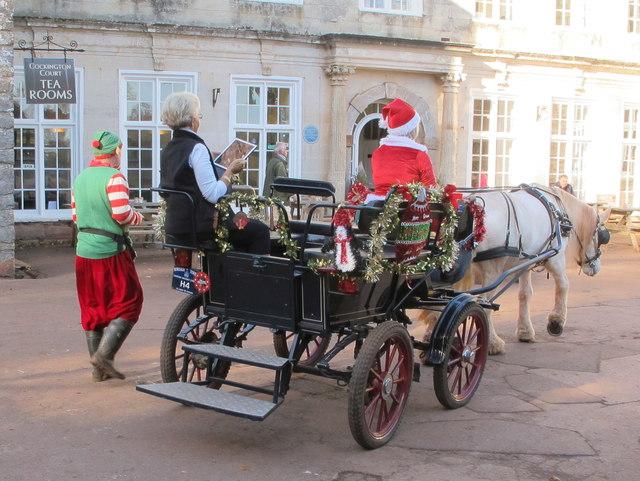 Santa, elf & horse-drawn carriage, Cockington
