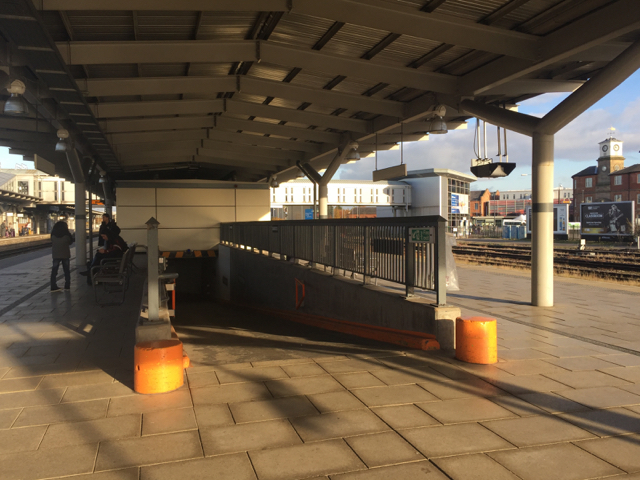 Ramp to subway for motorised trolleys, Derby station