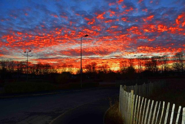 Red sky over Carterton (1), Oxon