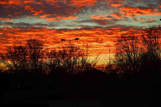 Red sky over Carterton (2), Oxon