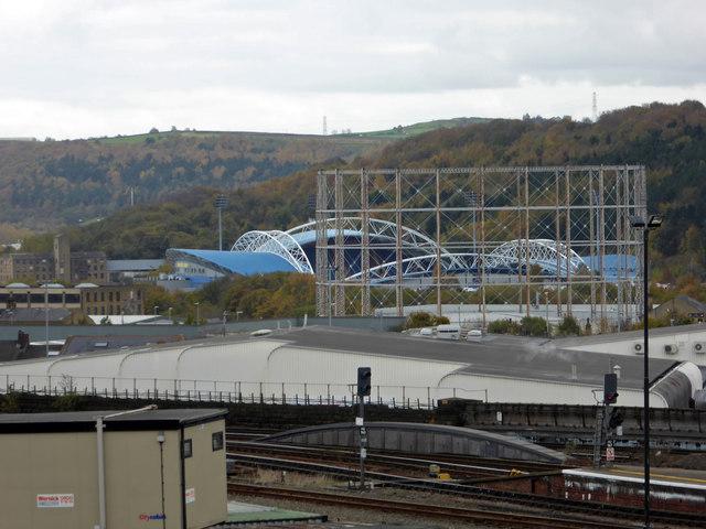 Gas holder and John Smith's Stadium - Huddersfield