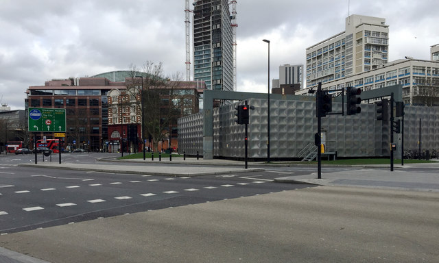 Southwest corner of the Faraday Memorial, Elephant and Castle, south London