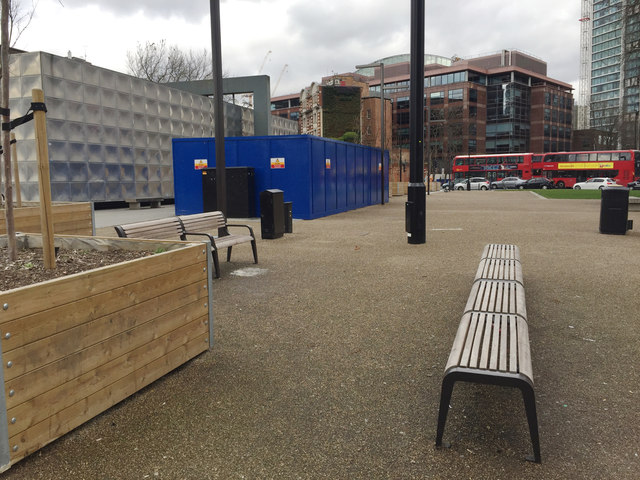 Street furniture on the peninsula, Elephant and Castle remodelled, south London