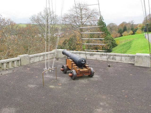 Cannon below mast, Britannia Royal Naval College