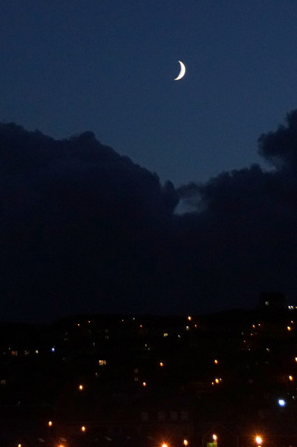 Crescent moon over Staney Hill, Lerwick