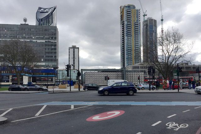 Looking south across the remodelled Elephant and Castle, south London