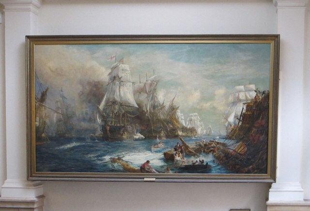 Painting of Battle of Trafalgar, Britannia Royal Naval College