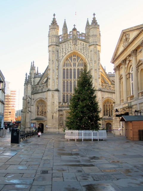 Bath Abbey with Christmas Tree