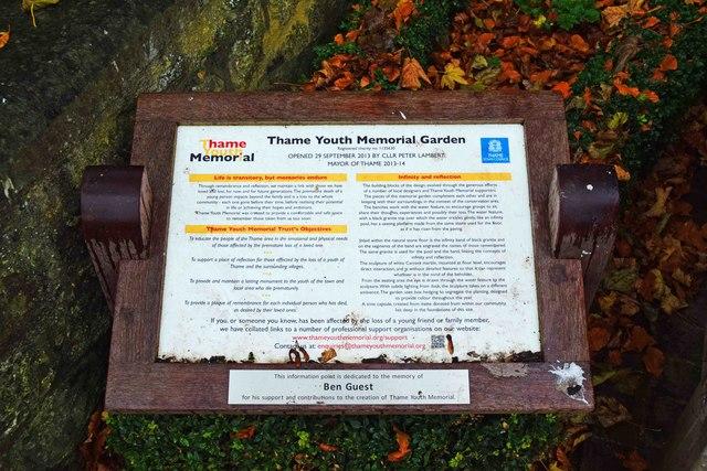 Thame Youth Memorial Garden (2) - information board, Upper High Street, Thame, Oxon