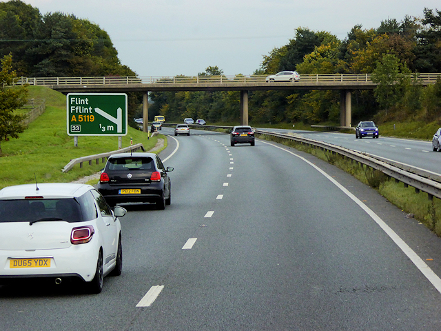 Bridge over the A55 between Junctions 33A and 33