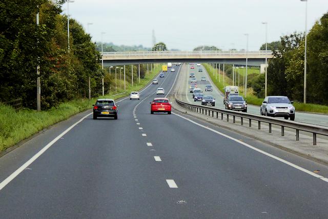 Bridge (Pen Lan Lane) over the A55 near Halkyn