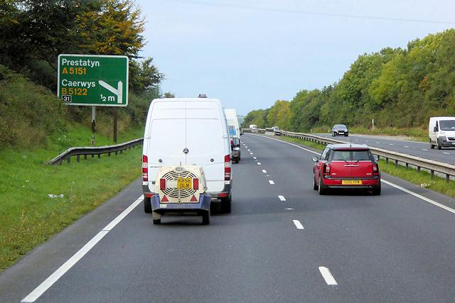 Westbound A55 near to Gorsedd