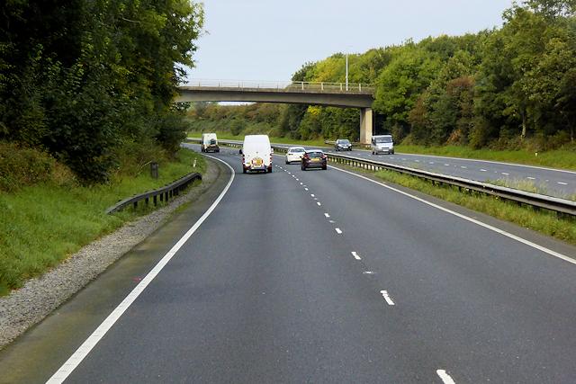 Bridge over the A55 near to Gorsedd