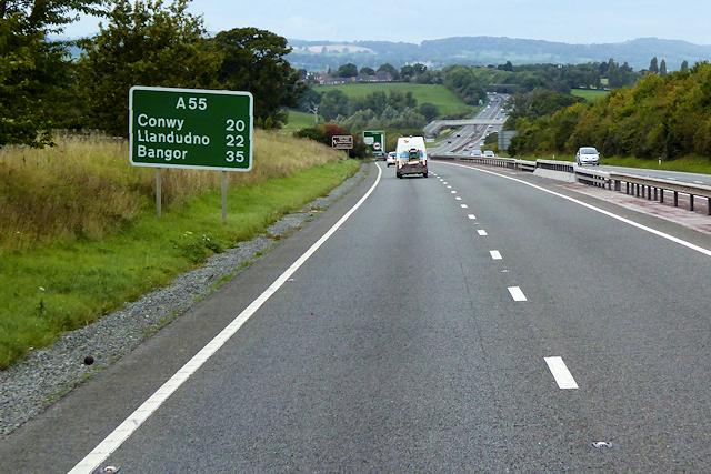 North Wales Expressway between Rhuallt and St Asaph