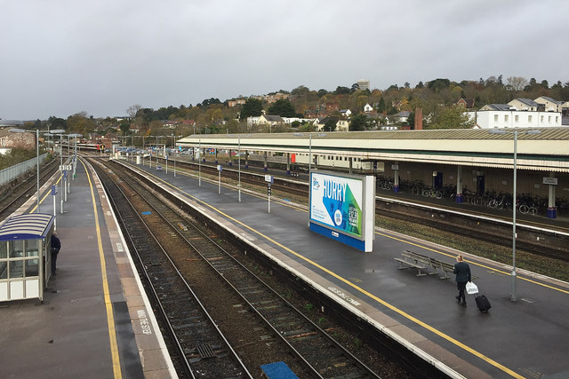 The view north-northeast from the north footbridge, Exeter St David's station