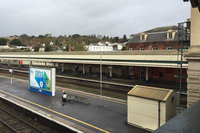 The view northeast from the north footbridge, Exeter St David's station