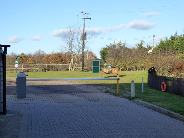 Barrier at Fen Farm caravan site reception