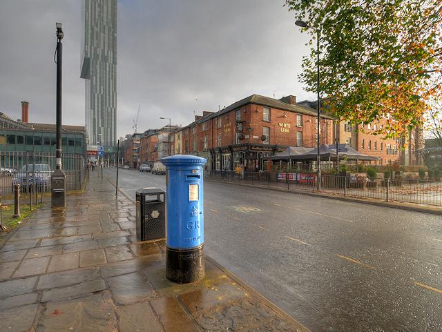 Blue Post Box on Liverpool Road