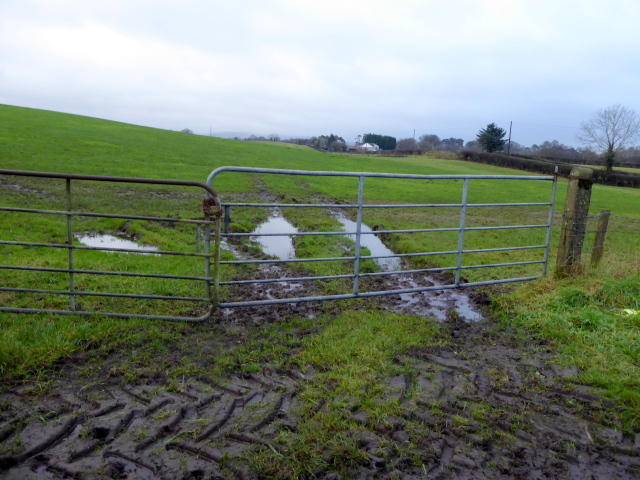 Muddy entrance to field, Tattraconnaghty