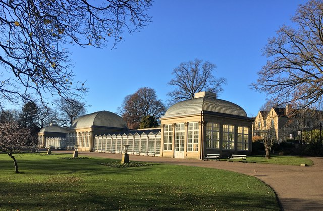 The glass pavilions in Sheffield Botanical Gardens
