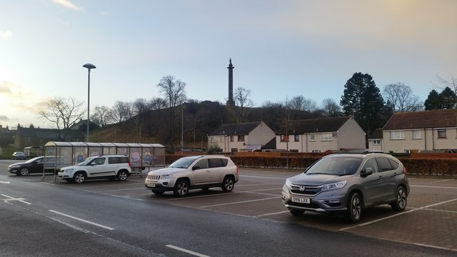 Monument on Lady Hill from Tesco car park, Elgin
