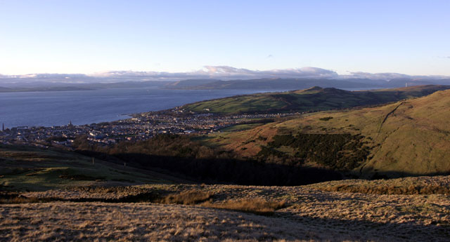 Largs from west of Cockle Loch