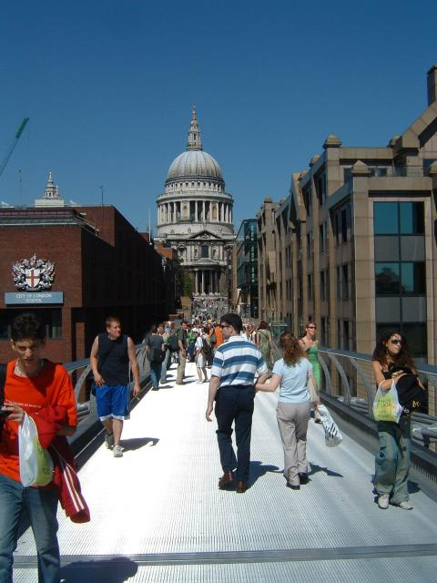St Pauls Cathedral from the Millennium bridge, Central London.