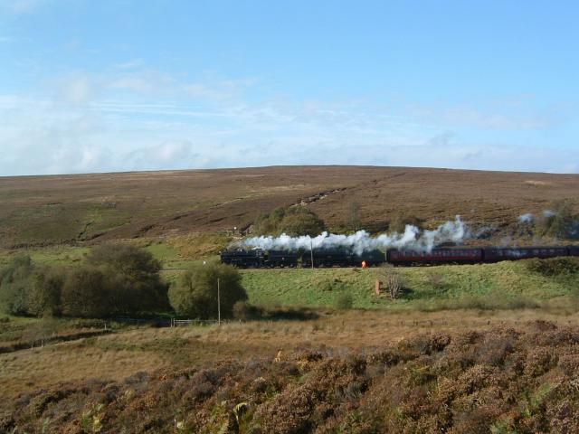 North Yorks Moors Railway crossing Goathland Moor near Eller Beck Bridge.