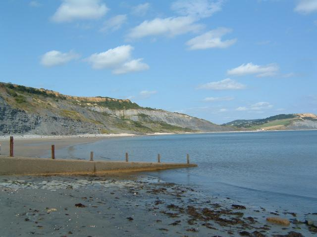 A view from East Cliff Beach across to Charmouth and Stonebarrow Hill
