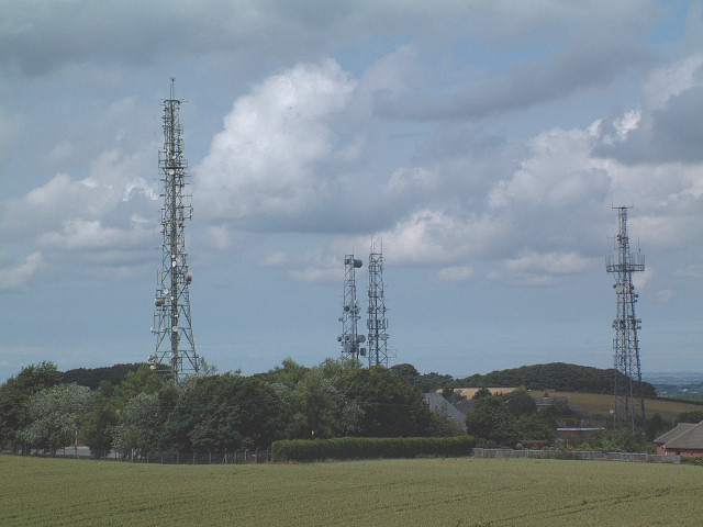 Communication masts around Billinge Hill