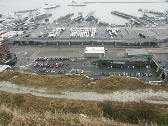 Dover Docks viewed from the clifftop
