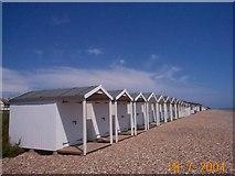 TQ0501 : Beach huts between Rustington and East Preston Looking East by Darren Hill