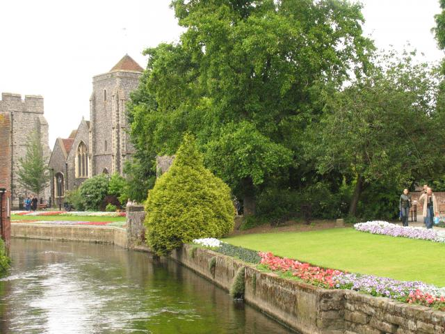 City Gate seen beyond the Church, from the River: Canterbury