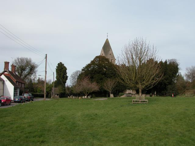 The Village green and church at Hawkley