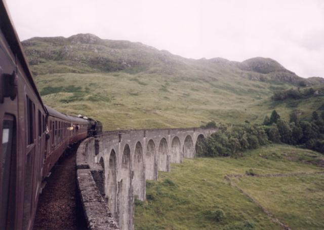 Jacobite Steam Train over the 21 arch viaduct near Glenfinnan