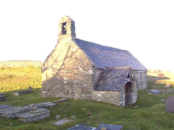 Ancient church on the hills above Conwy Valley