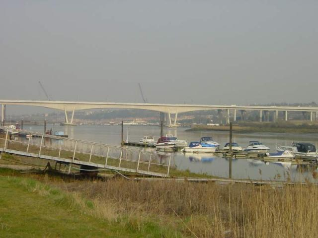 Cuxton Marina and the Channel Tunnel Rail Link Bridge