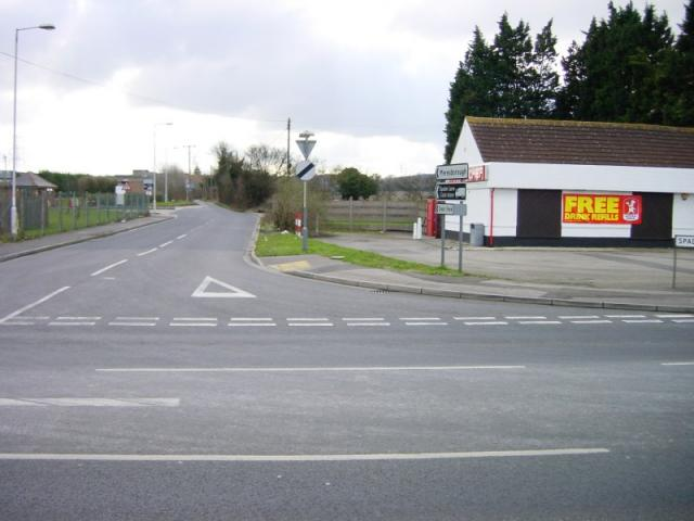 Spade Lane at its junction with A2 London Road