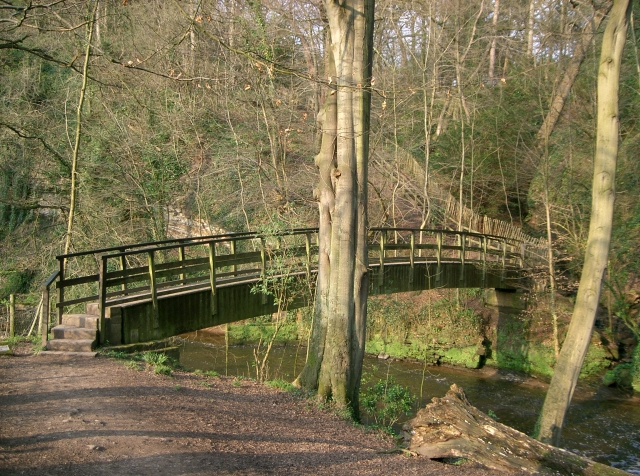 Giants Castle bridge leading over the River Bollin into Giants Castle Wood