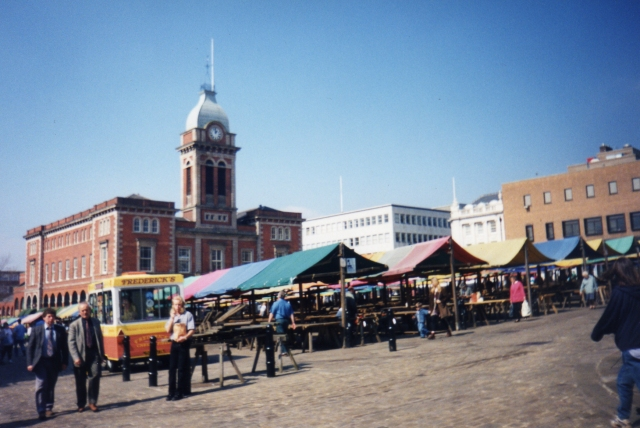 Chesterfield Market with Indoor Market Hall in the Background