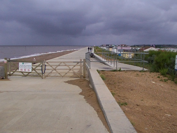 Beach Huts and Sea Wall near Heacham